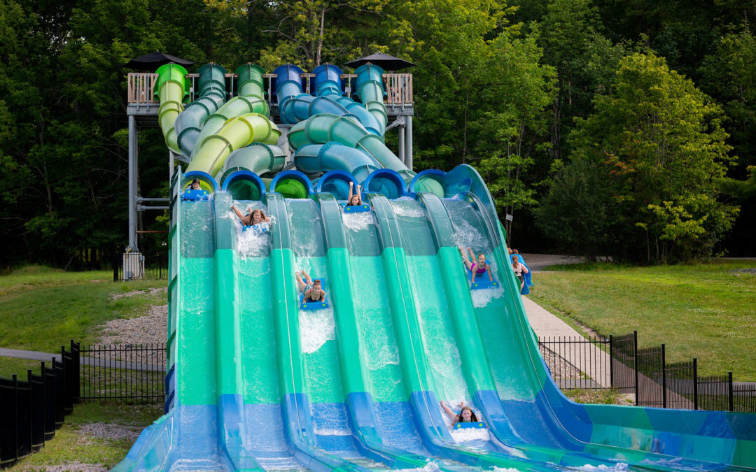 Muskoka Woods campers love sliding down the Kraken Racer, a six-lane waterslide at Muskoka Woods